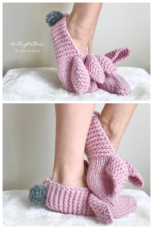 Adult Home Slippers Bunny Knitting Patterns