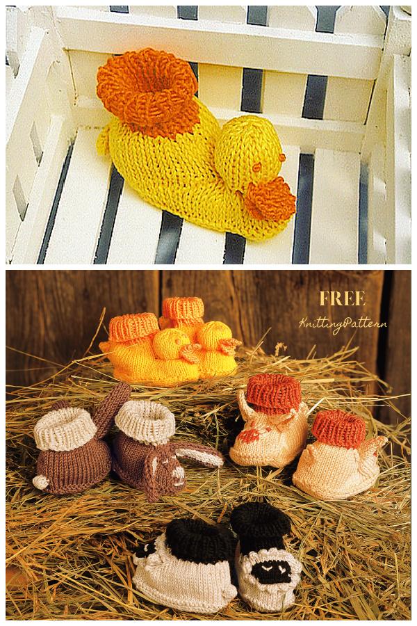 Baby Duck Barnyard Booties Free Knitting Patterns