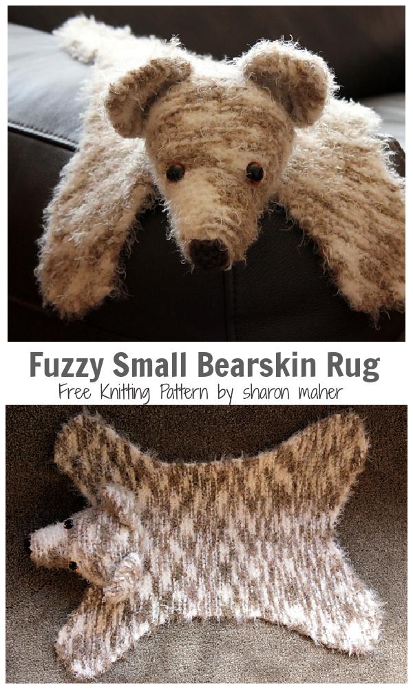 Fuzzy the Small Bearskin Rug Free Knitting Pattern