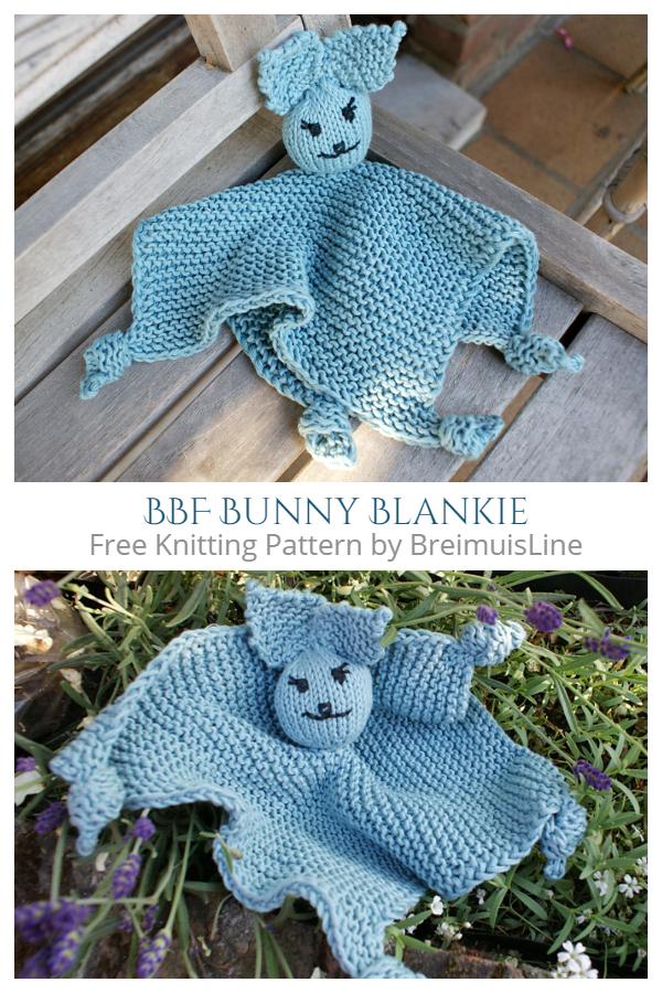 Knit BFF Bunny Lovey Blanket Free Knitting Patterns