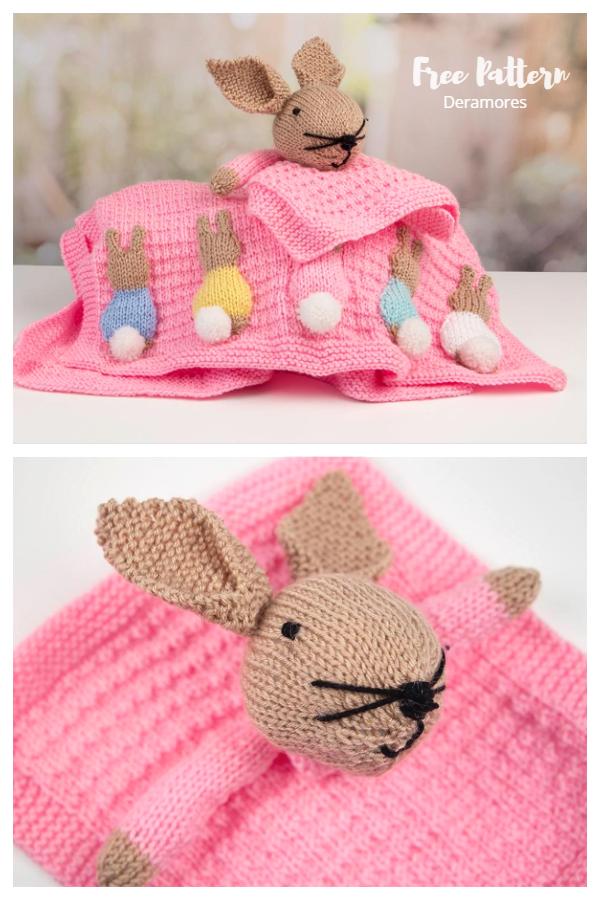 Knit Bunny Baby Blanket Set Free Knitting Patterns