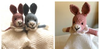Knit Bunny Lovey Blanket Free Knitting Patterns