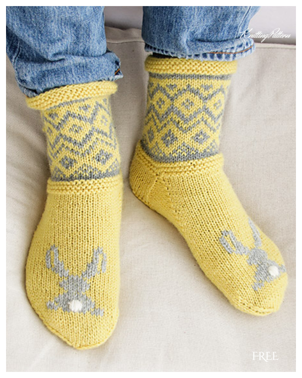 Bunny Steps Socks Free Knitting Patterns