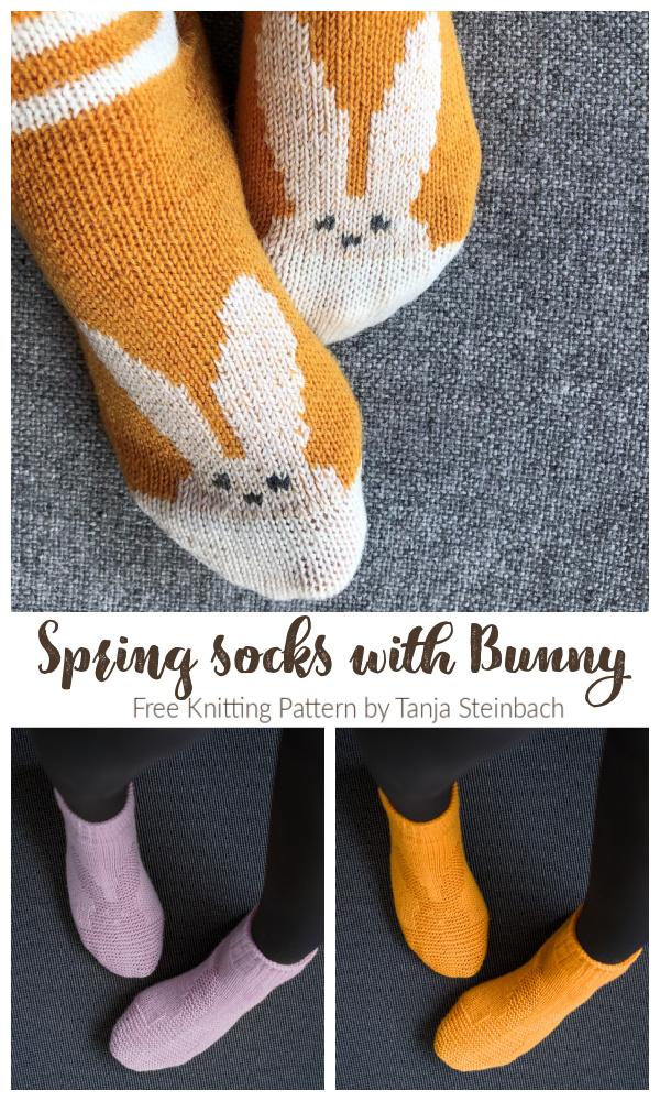 Spring Bunny Socks Free Knitting Patterns
