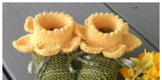 Baby Daffodil Booties Knitting Patterns