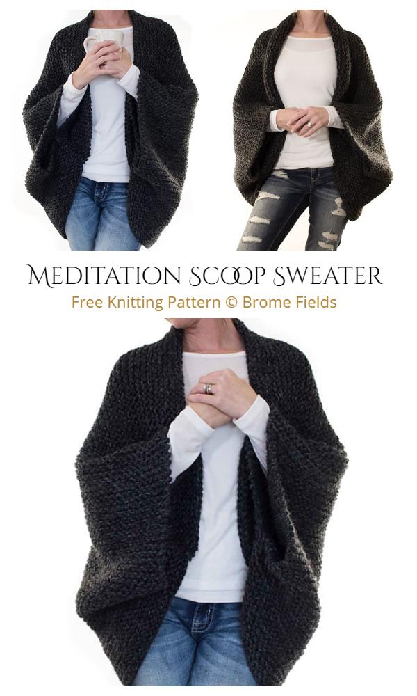 Easy Knit Meditation Scoop Blanket Sweater Free Knitting Pattern