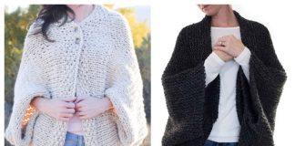 Easy Knit Blanket Sweater Free Knitting Pattern