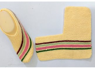 Easy One-Piece Knitted Ladies Slippers Free Knitting Pattern + Video