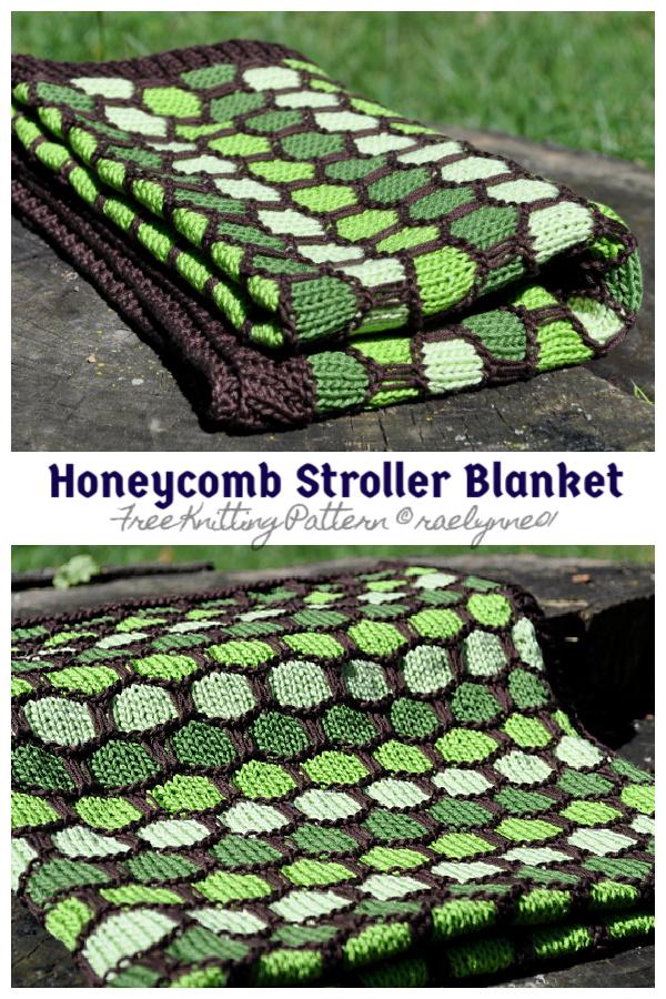 Knit Honeycomb Stroller Blanket Free Knitting Pattern