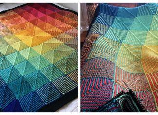 Hue Shift Afghan Blanket Knitting Pattern