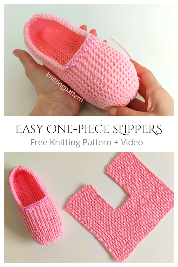 Knit One-Piece Slippers Free Knitting Patterns(Baby & Adult) + Video