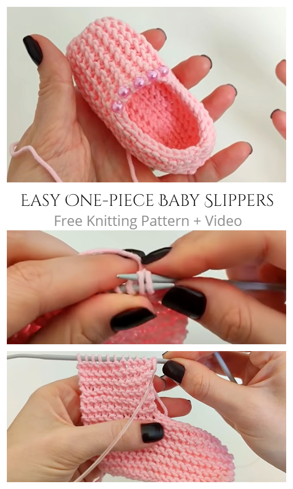 Knit One-Piece Baby Slippers Free Knitting Patterns + Video