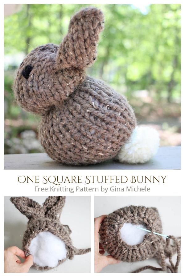 Knit One Square Stuffed Bunny Free Knitting Patterns