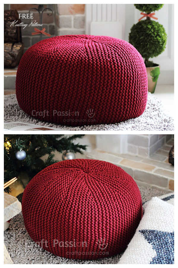 Knit Easy Pouf Ottoman Free Knitting Patterns