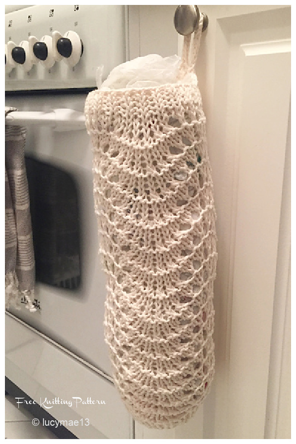 Feather and Fan Plastic Bag Dispenser Free Knitting Patterns