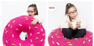 Pouf Donut Pillow Free Knitting Pattern