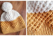 Knit Starry Textured Beanie Hat Free Knitting Pattern
