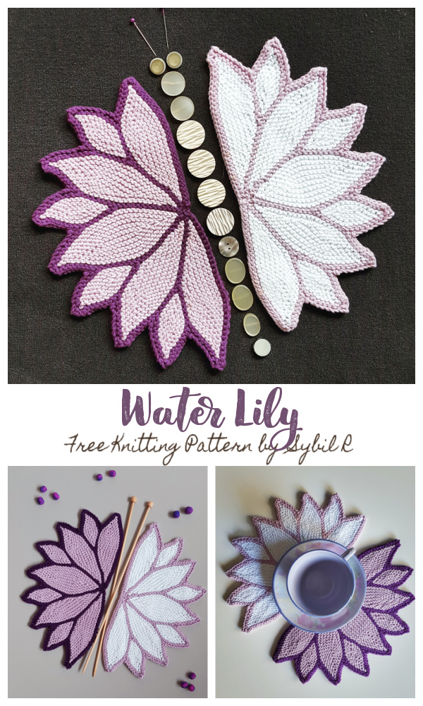 Water Lily Washcloth Free Knitting Pattern
