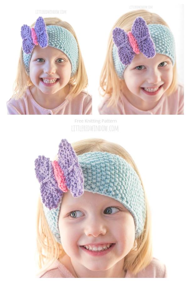 Uzorak pletenja leptiraste trake za glavu