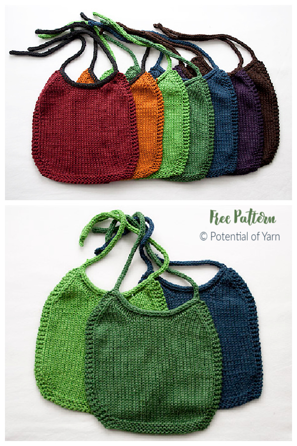 I Love-Stockinette Baby Bib Free Knitting Pattern