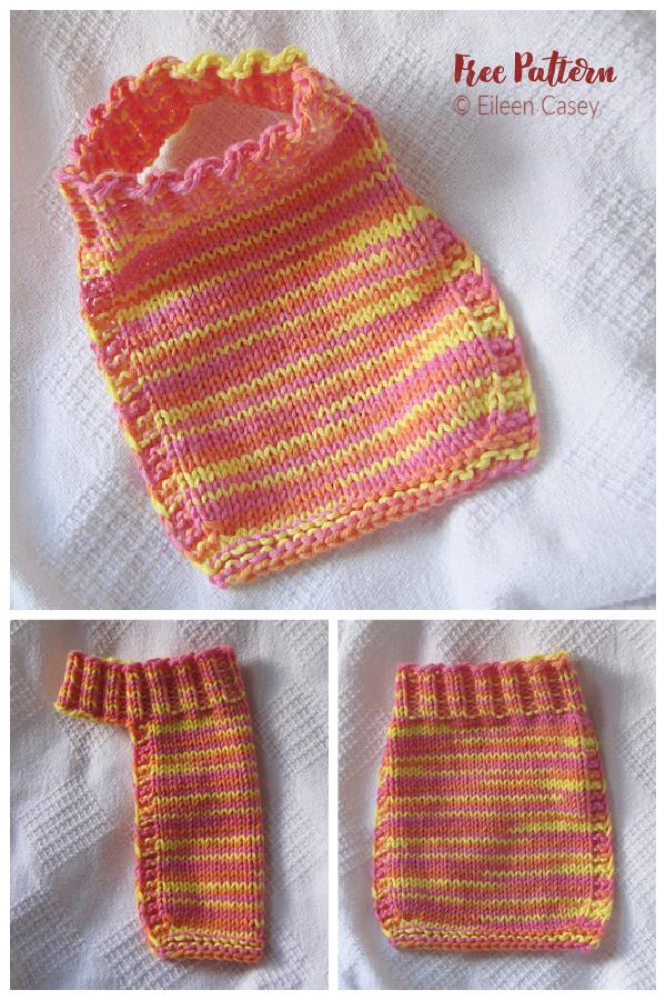 Easy Stay-On Bib Free Knitting Pattern