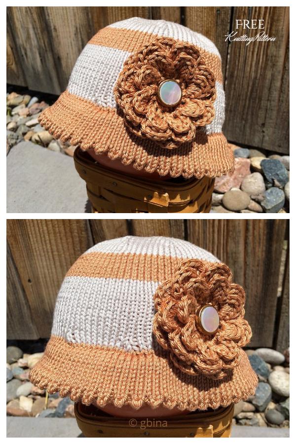 Pleteni obrasci od sunčanog šešira s cvijetom bez uzoraka