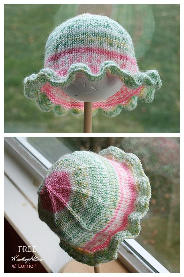 Pleteni šeširi za sunčanje s volančićima Besplatni uzorci za pletenje