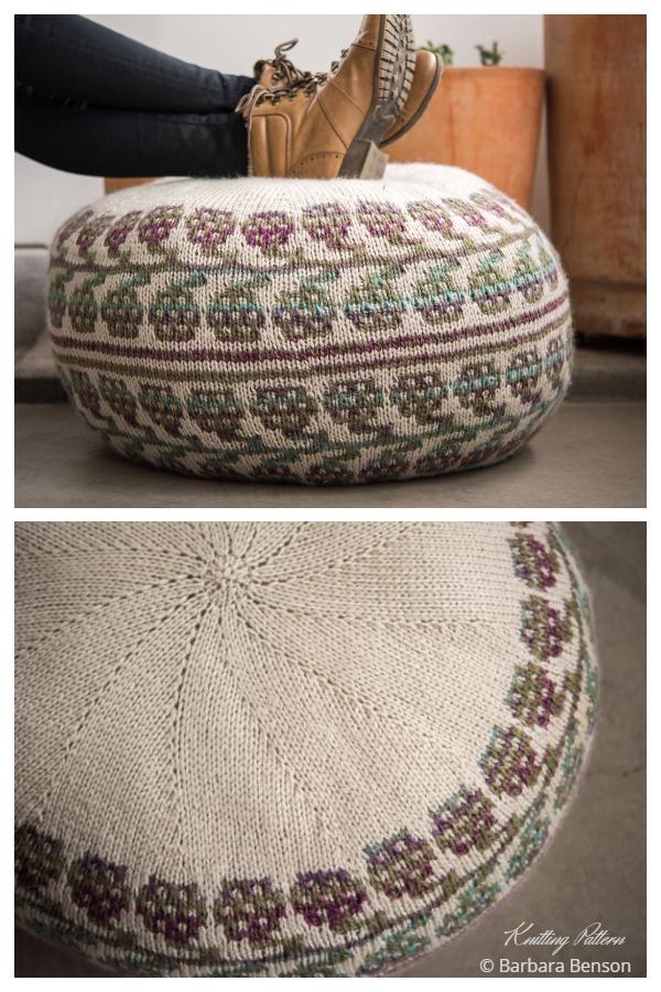 Knit Dewberry Hassock Pouf Ottoman Knitting Patterns