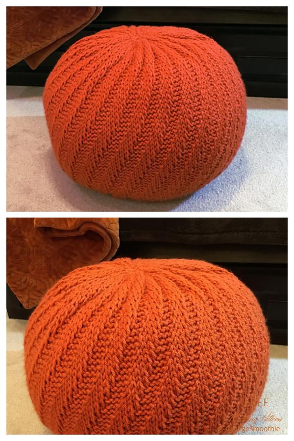 Knit Spiral Floor Pouf Ottoman Free Knitting Patterns