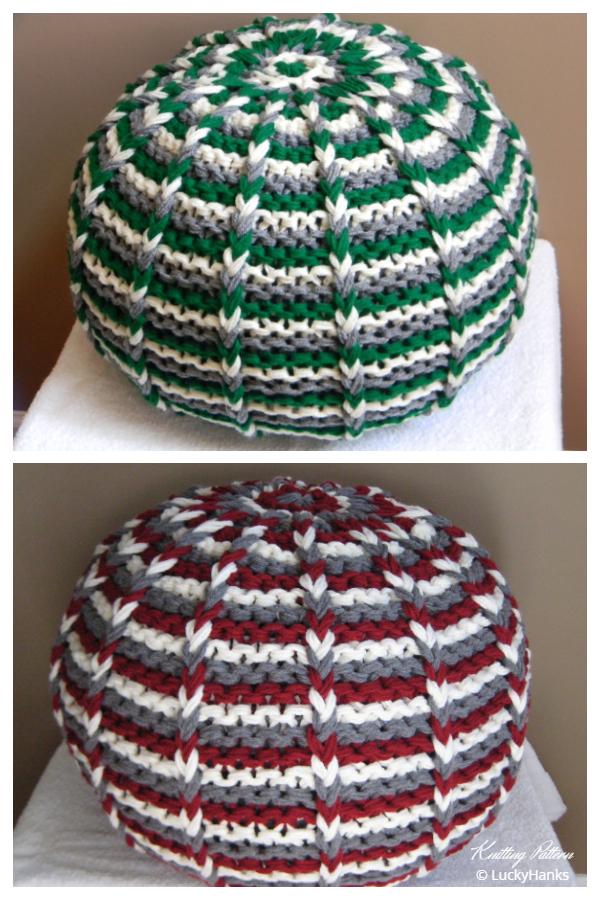 Knit Lucky Hanks Signature Pouf Ottoman Knitting Patterns
