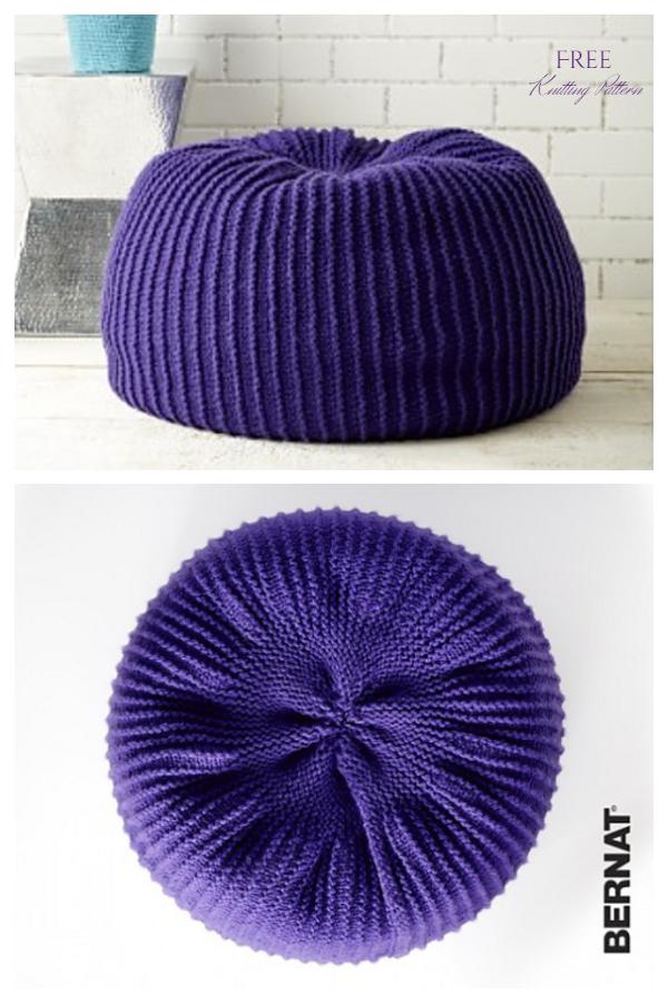 Knit Take Notice Pouf  Ottoman Free Knitting Patterns