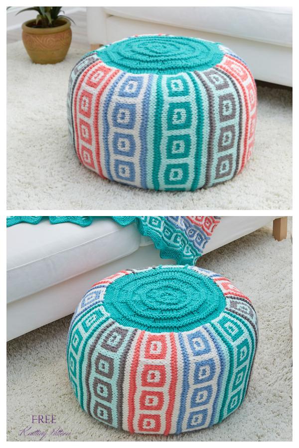 Knit Mosaic Squares Pouf Ottoman Free Knitting Patterns