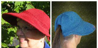 Knit Sun Visor Cap Free Knitting Pattern