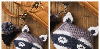 Raccoon Bag Charm Keychain Free Knitting Pattern