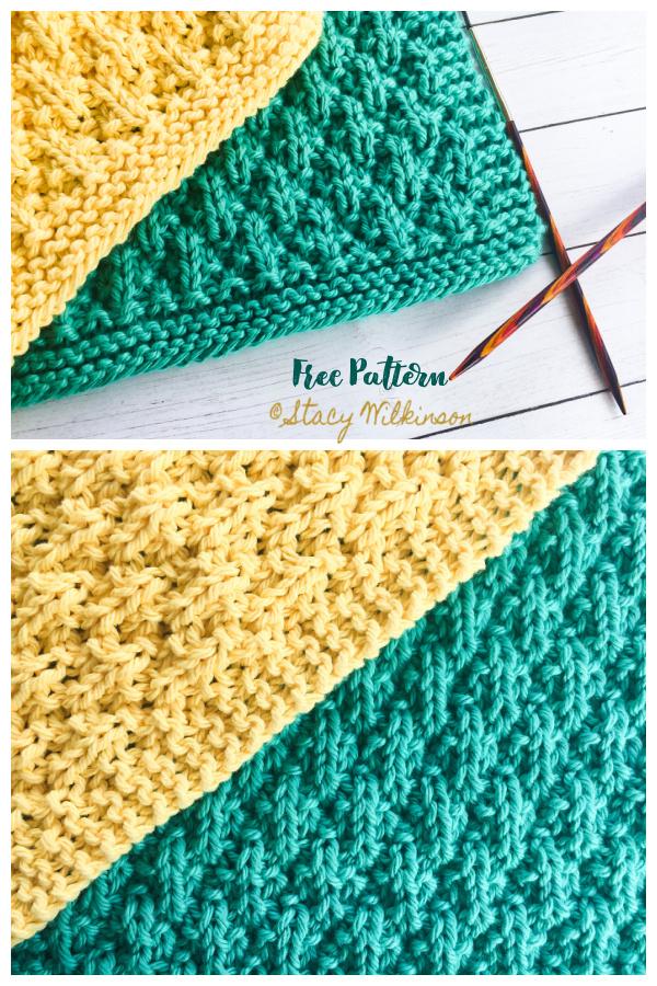 Simple Textured Seersucker Dishcloth Free Knitting Patterns