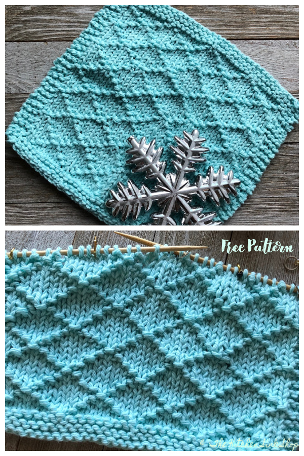 Simple Textured Icicles Dishcloth Free Knitting Patterns