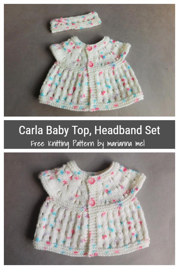 Carla Baby Top Headband Set Patterns Free Knitting