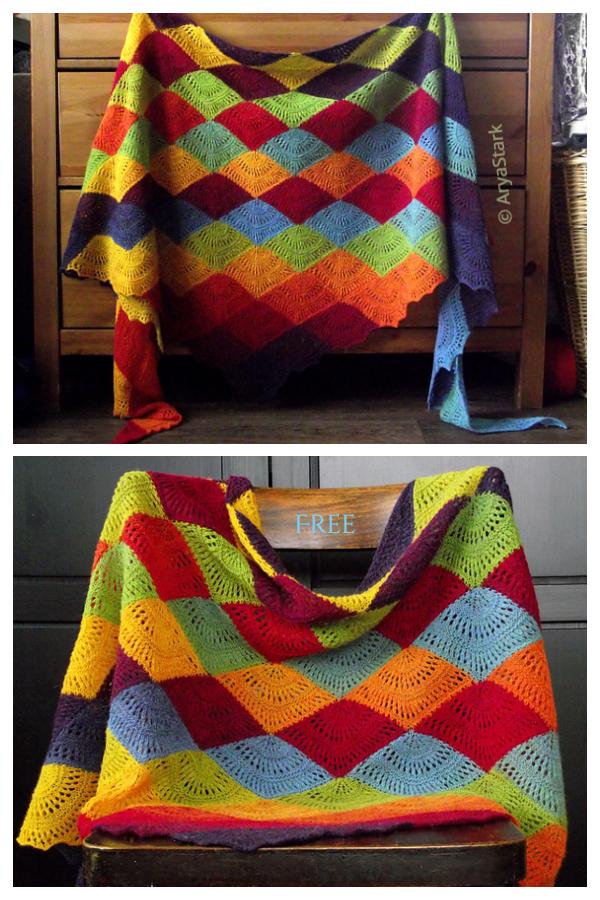 Knit RAINBOW Mochi Plus Fan Shawl Free Knitting Patterns