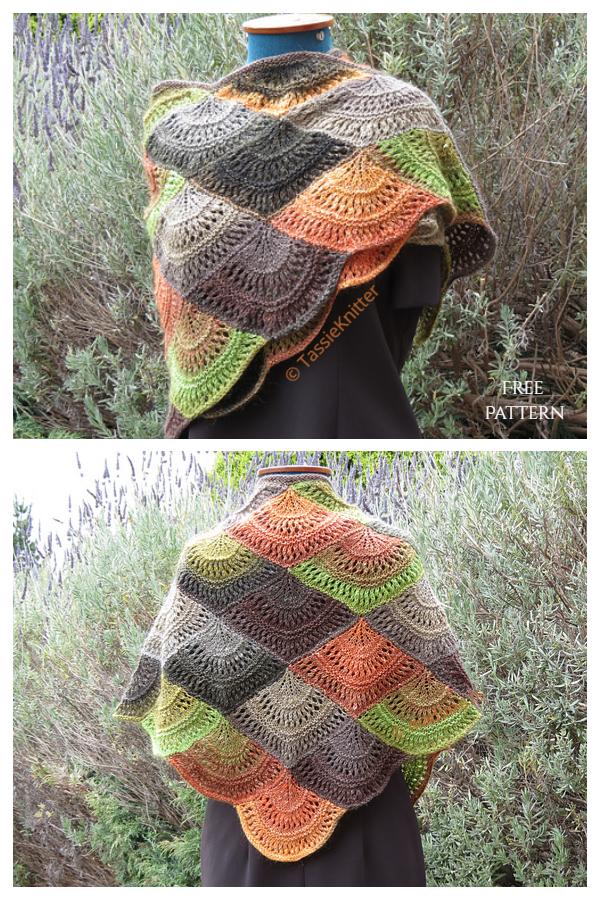 Modelli di lavoro a maglia gratuiti con scialle a ventaglio lavorato a maglia (DK)