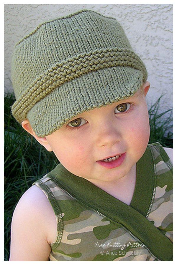 Modelli di maglieria gratuiti per cappello a tesa cadetto di Kiddie