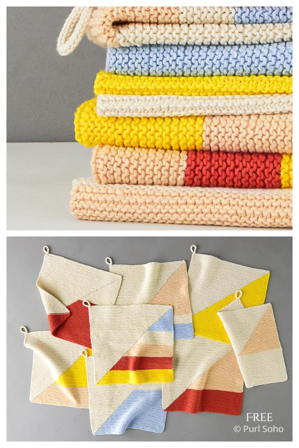 Colorful Half + Half Washcloths Free Knitting Patterns