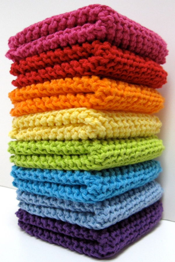 Diagonally Knit Dishcloth Free Knitting Patterns