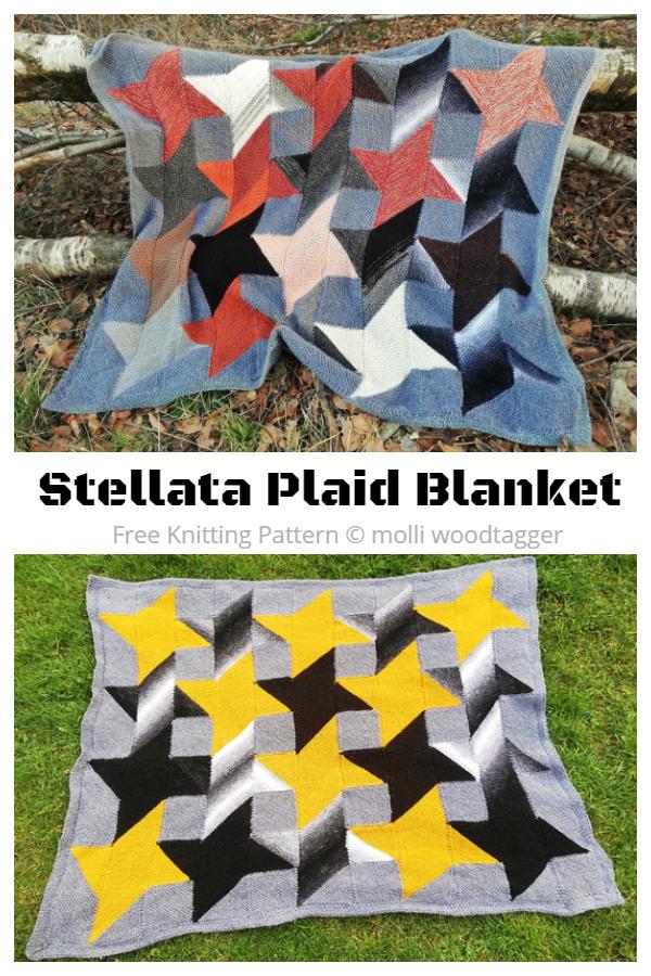 Stellata Plaid Blanket Free Knitting Pattern