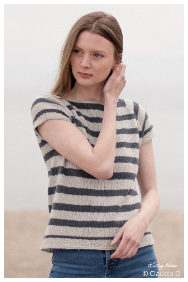Striped Tee Top Free Knitting Patterns
