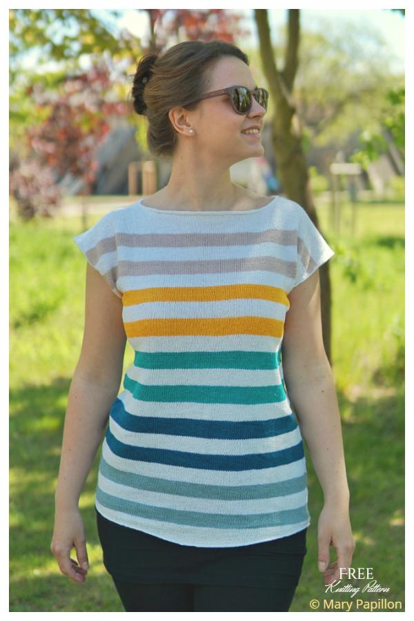 Striped Color Splash Tee  Free Knitting Patterns