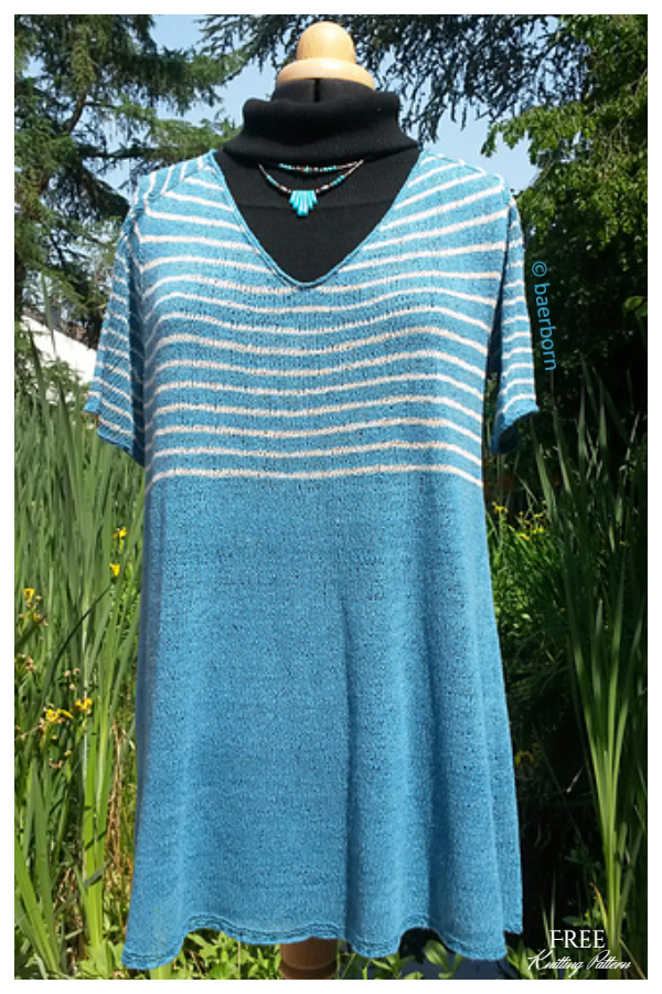 At the Seaside Striped Tee Top Free Knitting Patterns