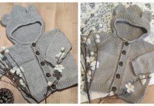 Hooded Baby Teddy Bear Cardigan Free Knitting Pattern