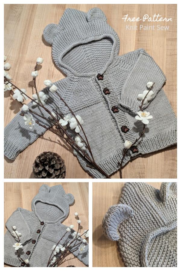 Maglione con orsetto con cappuccio e motivo a maglia gratuito