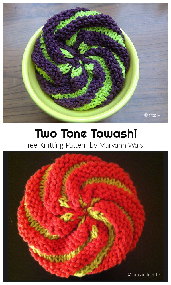 Knit Two Tone Tawashi Scrubby Free Knitting Patterns