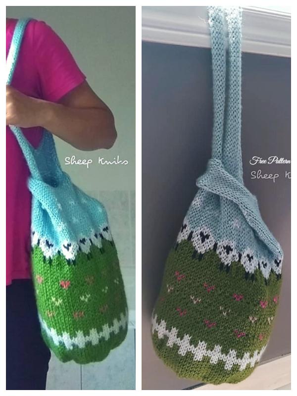 Sheep Japanese Knot Bag Free Knitting Patterns